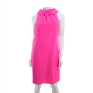 Hot pink cow neck dress with buttons on the back